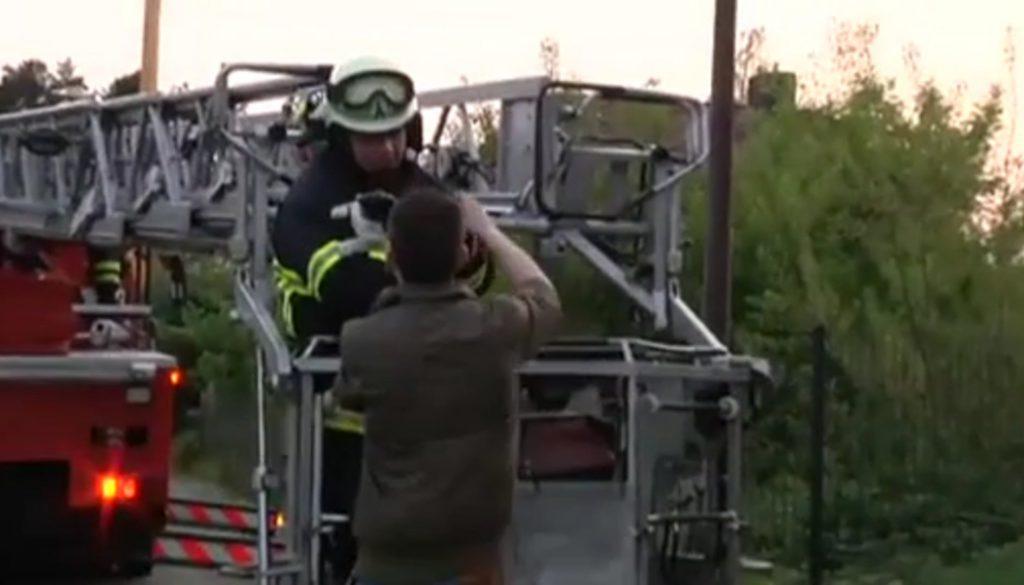 Mit der Drehleiter: Feuerwehr rettet Kater von Dach