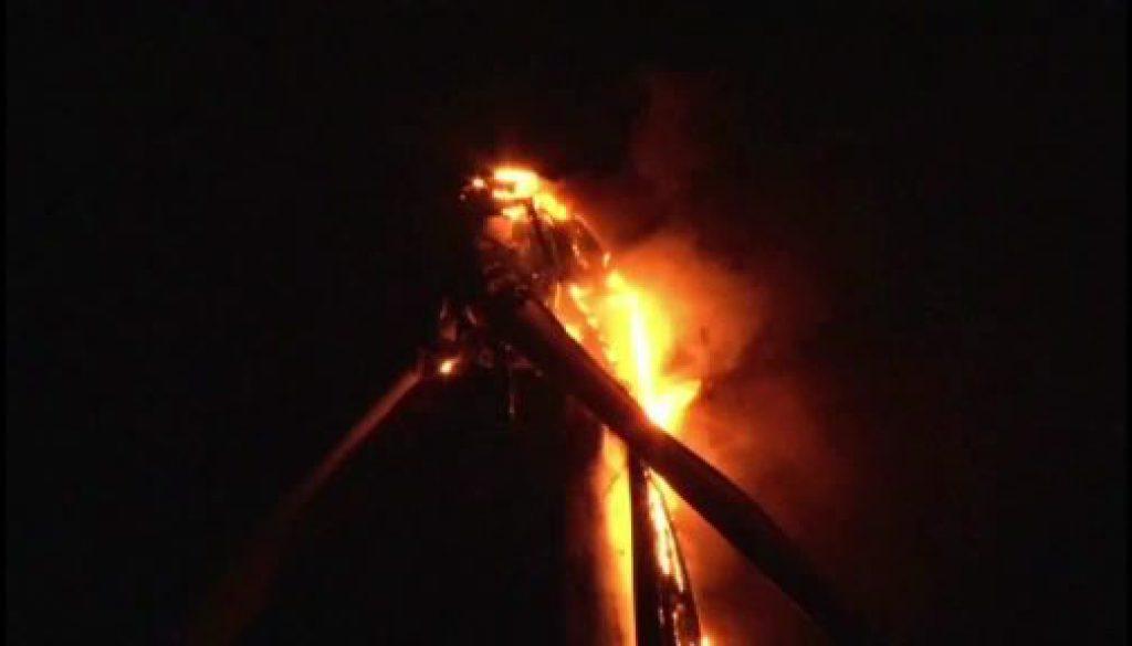 Windkraftanlage in Rhede brennt komplett aus