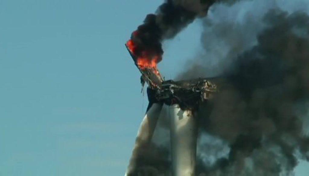 Feuer zerstört Windkraftrad