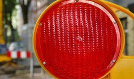 Warnlampe Sperrung Absperrung Strassenarbeiten