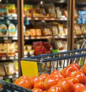 Symbol_Supermarkt, Lebensmittel. Einkaufen, Wagen, Gemuese